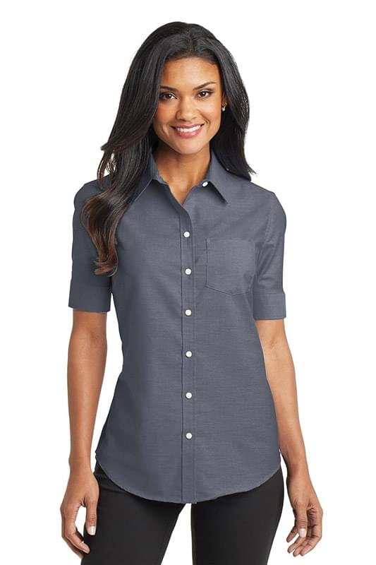 Port Authority ®  Ladies Short Sleeve SuperPro ™  Oxford Shirt. L659