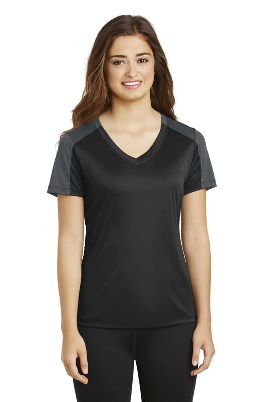 Sport-Tek ®  Ladies PosiCharge ®  Competitor ™  Sleeve-Blocked V-Neck Tee. LST354