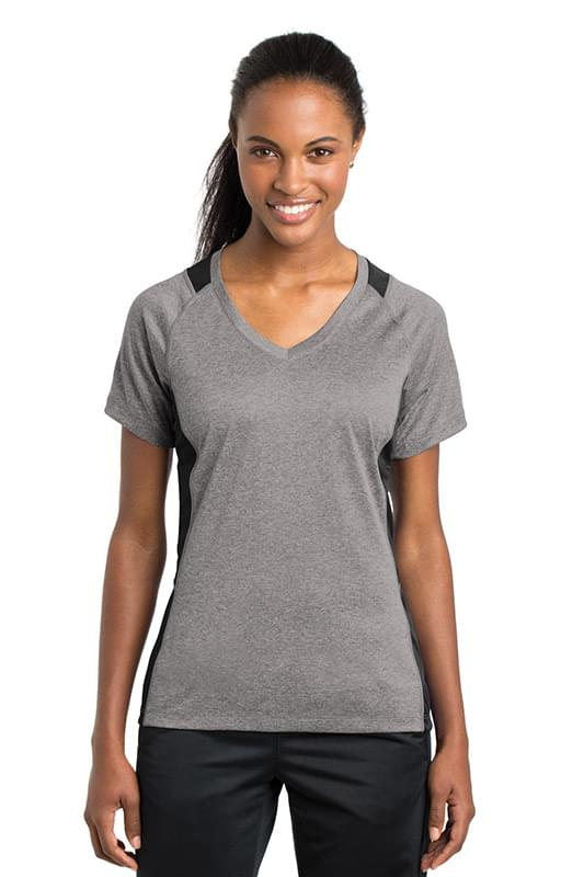 Sport-Tek ®  Ladies Heather Colorblock Contender ™  V-Neck Tee. LST361