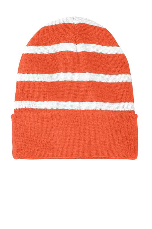 Sport-Tek ®  Striped Beanie with Solid Band. STC31