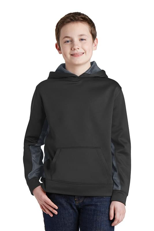 Sport-Tek ®  Youth Sport-Wick ®  CamoHex Fleece Colorblock Hooded Pullover.  YST239