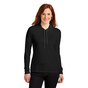 Anvil ®  Ladies 100% Combed Ring Spun Cotton Long Sleeve Hooded T-Shirt. 887L