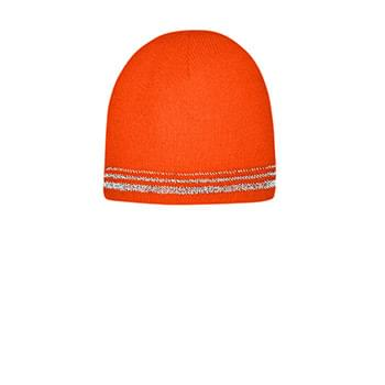 CornerStone  ®   Lined Enhanced Visibility with Reflective Stripes Beanie CS804