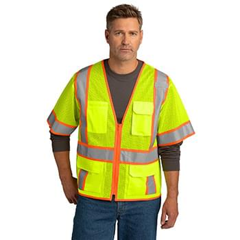 CornerStone  ®  ANSI 107 Class 3 Surveyor Mesh Zippered Two-Tone Short Sleeve Vest. CSV106