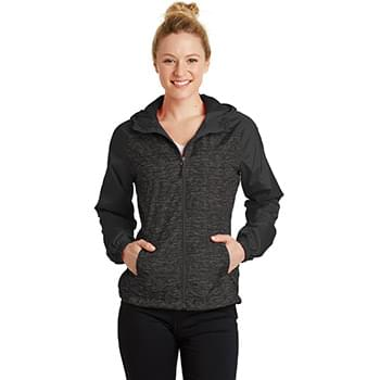 Sport-Tek ®  Ladies Heather Colorblock Raglan Hooded Wind Jacket. LST40