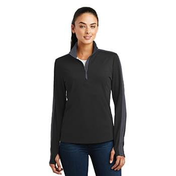 Sport-Tek ®  Ladies Sport-Wick ®  Textured Colorblock 1/4-Zip Pullover. LST861